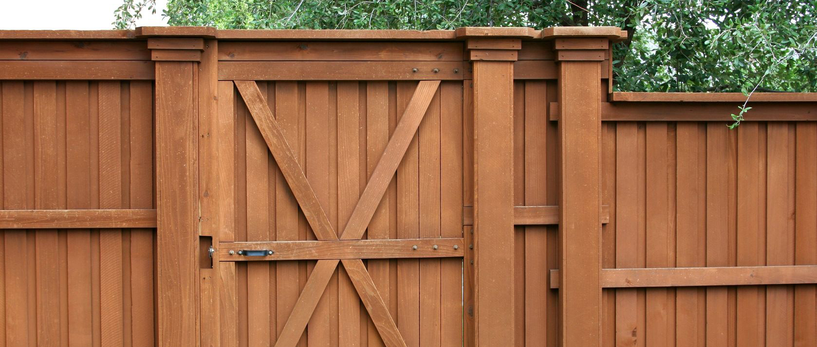 Wooden gated fence