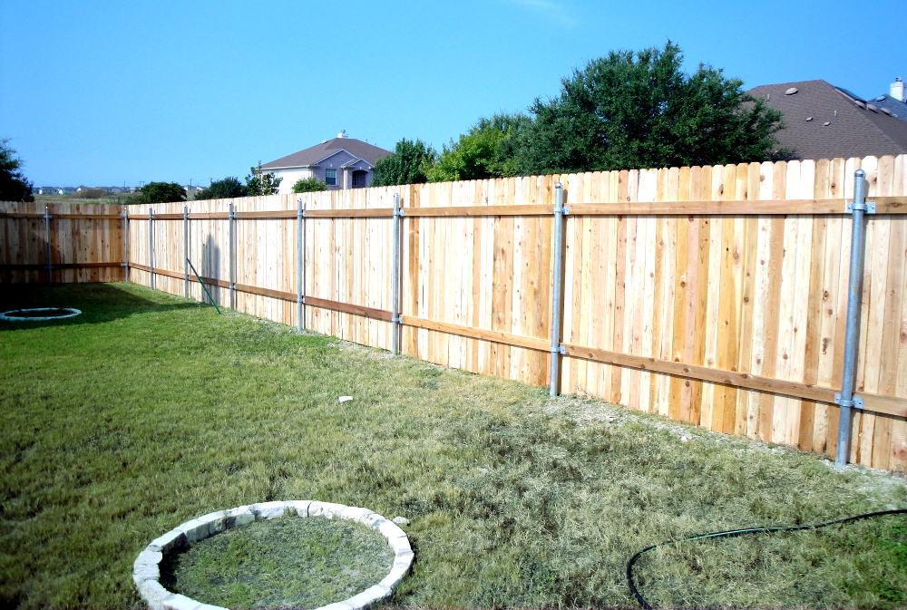 fence with steel poles