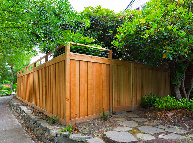 Exterior wooden fence in Austin
